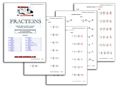 Fractions worksheets for teachers, tutors and parents